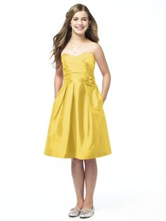 A-line sweetheart cocktail length flower junior bridesmaid dress BD0181