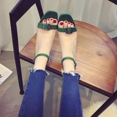 (29.47$)  Watch now - http://ai3xd.worlditems.win/all/product.php?id=32704832537 - Summer new Roman Korean suede chunky high heels square toe pumps buckle open toe gladiator sandals female ankle wrap green pumps