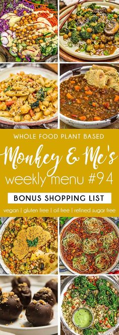 Monkey and Me's Menu 94 features delicious, wholesome recipes! All are Whole Food Plant Based Diet, vegan, oil free, refined sugar free & gluten free. Healthy Sauces, Healthy Appetizers, Healthy Salad Recipes, Whole Food Recipes, Side Recipes, Healthy Desserts, Vegan Party Food, Vegan Snacks, Vegan Sweets