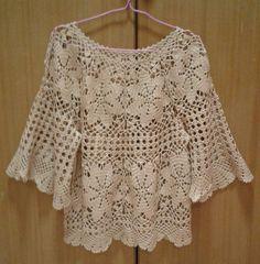 Crochet Tunic Pattern, Crochet Blouse, Knit Crochet, Top Pattern, Knitting Stiches, Crochet Stitches Patterns, Crochet Baby Hats, Crochet Clothes, Diy Bebe