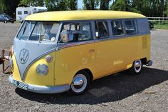VW bus...yellow over dove grey over yellow..sweet