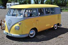 VW bus...yellow over dove grey over yellow..sweet
