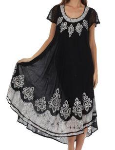 Sakkas B009 Batik Hindi Cap Sleeve Caftan Dress  Cover Up  Black  White  One Size ** Visit the image link more details.