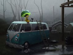 """""""Another Rainy Day"""" by Goro Fujita (*GorosArt) Rainy Day Pictures, The Last Leaf, Smelling Flowers, Where Is My Mind, Red Tree, Dancing In The Rain, Illustration Girl, Magical Creatures, Photo Canvas"""
