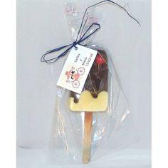 Jabon con forma helado en bolsa con tarjeta regalos boda
