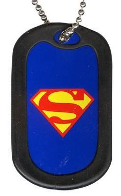 Click for Full Size Image of Superman, Dog Tag, Superman Logo on Blue