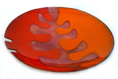 Modernist Abstract Copper Enamel Orange Dish Plate