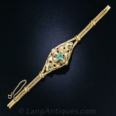 Geogian Emerald and Diamond Bracelet - 40-3-4417 - Lang Antiques.  From the early-to-mid 1800s England comes this rare and wonderful Georgian bracelet still in its original fitted box from Watherston & Son Silversmiths and Goldsmiths - 12 Pall Mall, East London.