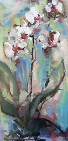 White Orchid by Nancy Everett Oil ~ 24 x 12