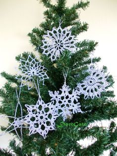 Silver Crochet snowflakes Christmas tree decoration lace shimmering snowflakes Sparkling snowflakes Christmas ornament Set of 6 -(C21) (18.80 USD) by DoroGato