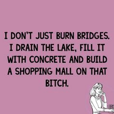 I don't just burn bridges I drain the lake fill it with concrete and build a mall on that bitch. Quotable Quotes, Me Quotes, Funny Fails, Funny Jokes, Funny Quotes For Instagram, Burning Bridges, You Funny, Funny Stuff, Sarcasm