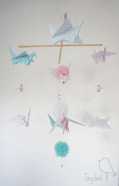 "Mobil ""Candy"" nursery decoration, nursery ideas, origami birds"