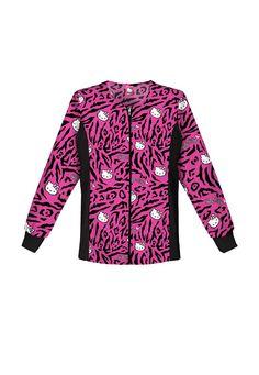 Cherokee Tooniforms Hello Kitty Wild print scrub jacket Main Image