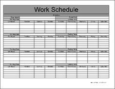 Free Monthly Work Schedule Template  Job    Schedule