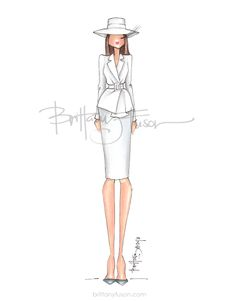 Melania Trump | first lady | FLOTUS | white suit | white hat | Michael Kors | fashion illustration | White House | Brittany Fuson