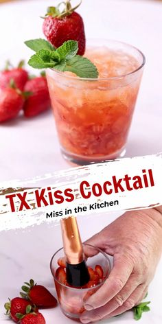 Try a TX Kiss Cocktail for a refreshing whiskey drink that is made for the weekend and front porch sipping. A simple recipe that is easy to make at home. Cocktails For Parties, Easy Cocktails, Classic Cocktails, Party Drinks, Cocktail Drinks, Fun Drinks, Yummy Drinks, Cocktail Recipes, Beverages