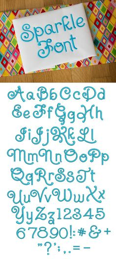 Sparkle Embroidery Font now available for instant download at www.designsbyjuju.com