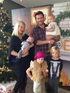 Tori Spelling & Her Family-Of-Six  Very fashionable fam - check out those check pants on Liam!  LOVE