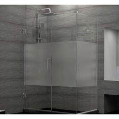 "DreamLine Unidoor Plus 30.5"" W x 34.38"" D Hinged Shower Enclosure Glass Type: Half Frosted, Finish: Brushed Nickel"