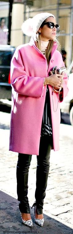 Winter Fashion 2014. Don't you just love this pink coat?!