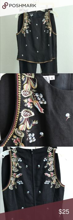 Donna Morgan top and slacks Beautifully embroidered linen and rayon top with matching black slacks.  No waistband on slacks fits at waist.  Top zips up the back. Donna Morgan Other