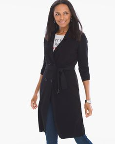 Chico's Women's Woven-Back Savannah Cardigan, Black, Size: 4 (20/22 XXL)