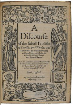 Title page of A discourse of the subtill practises of deuilles by witches and sorcerers by University of Glasgow Library, via Flickr