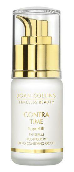 CONTRA TIME - SuperLift Eye Serum - 30ml. #SuperLift #EyeSerum #SuperLiftEyeSerum #EyeLiftinaBottle #TripleActionLiftingEffect #MinimiseAgeingEyes #ContraTime #Super7 #SuperSeven #ReducesPuffiness #ReducesDarkCircles #ReducesDarkUnderEye #SkinCare #Beauty #DailyRoutine Eye Lift, Joan Collins, Eye Serum, Timeless Beauty, Perfume Bottles, Skincare, Eyes, Ageless Beauty, Skin Treatments