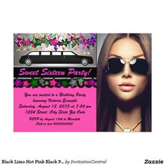 Black Limo Hot Pink Black Photo Sweet 16 Party 13 Cm X 18 Cm Invitation Card