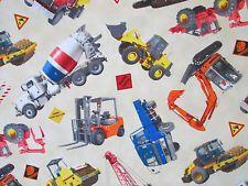 CONSTRUCTION VEHICLES TRUCKS DIGGER CREAM COTTON FABRIC BTHY