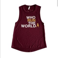 "🆕 Barbell Babes Maroon Running CrossFit Tank S Barbell Babes 'Who Run The World' Muscle Tank. ""RUN"" and logo in gold glitter. True to size or size up for deeper armholes. 🚫 No trades. No holds. 📦 Fast shipping! Barbell Babes Tops Muscle Tees"
