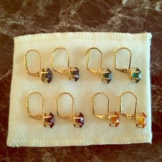 Earrings Beautiful 10k gold plated, lab created gemstone earrings. Set of 4: sapphire, emerald, topaz, amethyst Jewelry Earrings