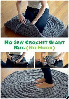 DIY Hand Crochet Giant Rug No Sew Free Pattern-10 Handmade Crochet Area #Rug. #Crochet