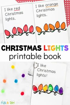 Snag the free Christmas lights printable book for your emergent reader! There are two versions to choose from. Use it with manipulatives, color with crayons or markers, and reinforce the science of color names! A great early literacy activity for preschool. Preschool Christmas Activities, Early Learning Activities, Fun Activities For Toddlers, Preschool Songs, Preschool Lesson Plans, Free Preschool, Preschool Printables, Christmas Lights, Christmas Ideas