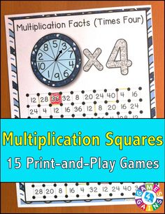 """Multiplication Squares"" Game contains 15 fun and engaging games to help students practice their multiplication facts. Each one-page multiplication game gets students practicing a different set of multiplication facts (x1, x2, x3, etc). This means that you can have each student practicing the set of facts that he/she needs the most help with."
