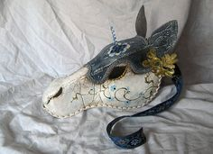 Items similar to SALE: Cerulean- Medieval Destrier Horse Mask, Handmade Wearable…