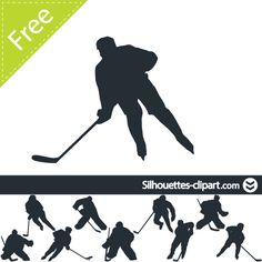 Hockey player vector silhouette | silhouettes clipart