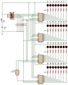 5 to 32 line Decoder Cool Electronics, Electronics Projects, Led, Circuit, Floor Plans, Diy Projects, English, Cool Stuff, Electronics Gadgets