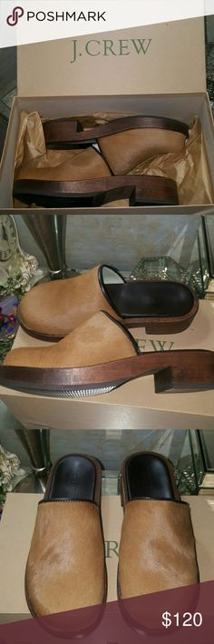 """J. Crew Blonde Pony Hair Wooden Clogs J. Crew Blonde Pony Hair Wooden Clogs with 1 1/2"""" heel. Thick rubber/wooden soles with chocolate brown leather inside. Worn once!! Mint condition not a hair out of place..still in box. I fell in love with these shoes but they were too small unfortunately. Made in Italy Decent offers welcome! J. Crew Shoes Mules & Clogs"""