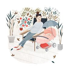 Relaxing in a garden with a glass of wine, a mother watches her baby.  Clare Owen, artist