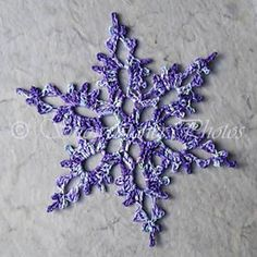 "Enchanted Forest Snowflake pattern, by Deborah Atkinson on Ravelry. Free crochet pattern! >> This is such a lovely snowflake, and the purple color really makes the pattern ""pop."""
