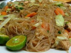 Pancit Bihon Recipe (Filipino stir-fried rice noodles with meat and vegetables)