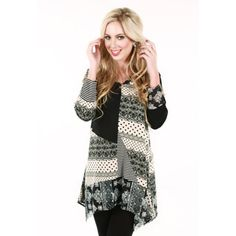 Women's Black and White Patchwork Print Tunic - Overstock™ Shopping - Top Rated Long Sleeve Shirts