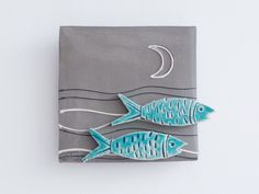 Turquoise fish ceramic tile, square wall tile with two turquoise fish, stoneware and earthenware clay, fish wall art, modern Greek pottery
