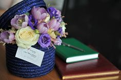 Hat box with flowers Created and designed by 'Flowers by Ana' Flower Boxes, Flowers, Floral Design, Art Floral, Flower Designs, Table Decorations, Create, Hat, Home Decor