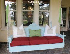 Repurposed headboard porch swing