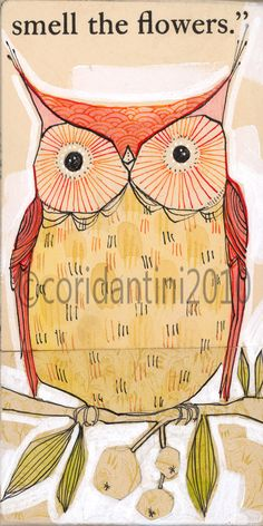 orange owl print, bird art, limited edition and archival watercolor illustration. $20.00, via Etsy.