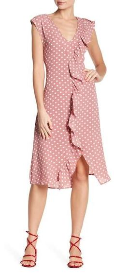 Spirit of Grace Polka Dot Print Ruffle Trim Hi-Lo Dress