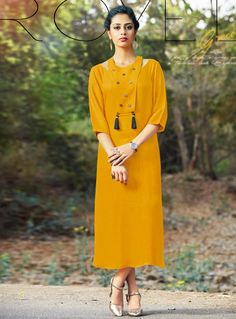 Buy Mustard Cotton Readymade Kurti 127444 online at lowest price from our mens indo western collection at m.indianclothstore.c.