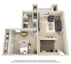 1x1 floor plan Apartment Layout, Apartment Plans, Apartment Design, Interior Exterior, Interior Architecture, Bedsit, Kitchen Room Design, Secret Rooms, Sims House